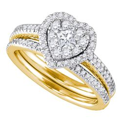 0.75 CTW Princess Diamond Heart Bridal Engagement Ring 14KT Yellow Gold - REF-112M5H