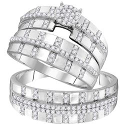 0.63 CTW His & Hers Diamond Cluster Matching Bridal Ring 10KT White Gold - REF-49W5K
