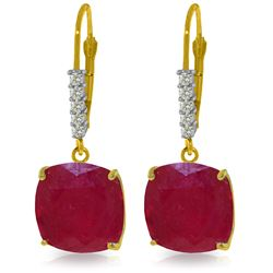 Genuine 13.65 ctw Ruby & Diamond Earrings Jewelry 14KT Yellow Gold - REF-126T5A