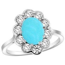 Natural 2.34 ctw Turquoise & Diamond Engagement Ring 14K White Gold - REF-84A2V