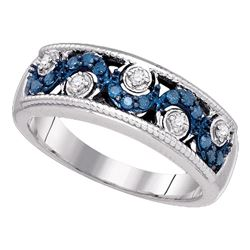 0.25 CTW Blue Color Diamond Ring 10KT White Gold - REF-37N5F
