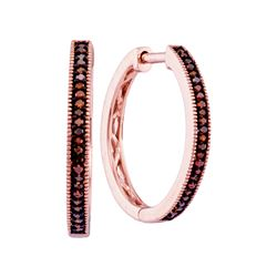 0.15 CTW Red Color Diamond Single Row Hoop Earrings 10KT Rose Gold - REF-25K4W