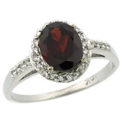 Natural 1.3 ctw Garnet & Diamond Engagement Ring 14K White Gold - REF-32W7K