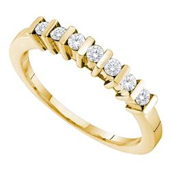 0.21 CTW Diamond Single Row Ring 10KT Yellow Gold - REF-19K4W