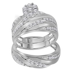 1.1 CTW His & Hers Diamond Cluster Matching Bridal Ring 10KT White Gold - REF-101X2Y