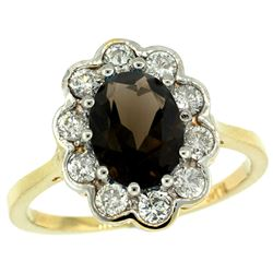 Natural 2.34 ctw Smoky-topaz & Diamond Engagement Ring 10K Yellow Gold - REF-69X8A