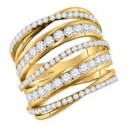 2.49 CTW Diamond Fashion Open Strand Cocktail Ring 10KT Yellow Gold - REF-194X9Y