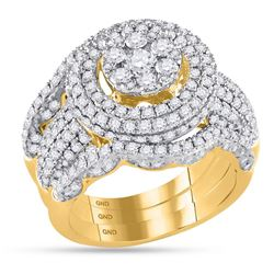 2.45 CTW Diamond Cluster Bridal Engagement Ring 14KT Yellow Gold - REF-254M9H
