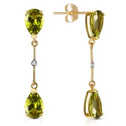 Genuine 6.01 ctw Peridot & Diamond Earrings Jewelry 14KT Yellow Gold - REF-42V4W