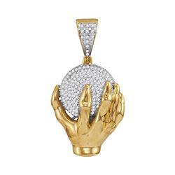 0.70 CTW Mens Diamond Hand World Cluster Charm Pendant 10KT Yellow Gold - REF-67Y4X