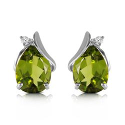 Genuine 4.26 ctw Peridot & Diamond Earrings Jewelry 14KT White Gold - REF-46T2A