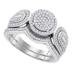 0.50 CTW Diamond Cluster Bridal Engagement Ring 10KT White Gold - REF-52X4Y