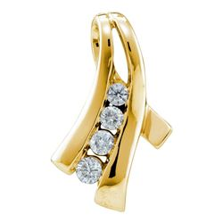0.33 CTW Diamond Graduated Fashion Pendant 14KT Yellow Gold - REF-44K9W