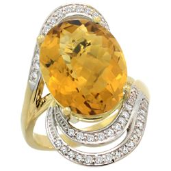Natural 11.2 ctw quartz & Diamond Engagement Ring 14K Yellow Gold - REF-89A9V