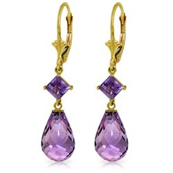 Genuine 11 ctw Amethyst Earrings Jewelry 14KT Yellow Gold - REF-39Y3F