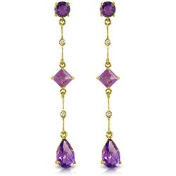 Genuine 6.06 ctw Amethyst & Diamond Earrings Jewelry 14KT Yellow Gold - REF-33R8P