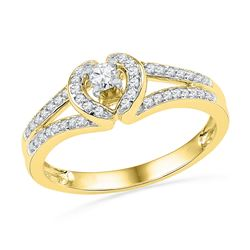 0.25 CTW Diamond Heart Love Promise Bridal Ring 10KT Yellow Gold - REF-25M4H
