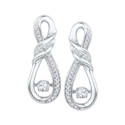 0.33 CTW Diamond Solitaire Ribbon Earrings 10KT White Gold - REF-44M9H
