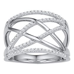 0.33 CTW Diamond Crisscross Crossover Ring 10KT White Gold - REF-30M2H