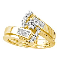 0.50 CTW Diamond Bridal Wedding Engagement Ring 14KT Yellow Gold - REF-89M9H