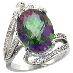Natural 5.76 ctw mystic-topaz & Diamond Engagement Ring 14K White Gold - REF-92F7N