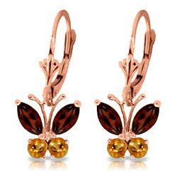 Genuine 1.24 ctw Garnet & Citrine Earrings Jewelry 14KT Rose Gold - REF-38Z2N