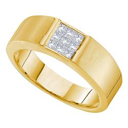 0.50 CTW Princess Diamond Mens Anniversary Ring 14k Yellow Gold - REF-75K2W