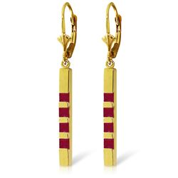 Genuine 0.70 ctw Ruby Earrings Jewelry 14KT Yellow Gold - REF-58X4M