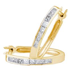 0.30 CTW Princess Diamond Channel-set Snap-down Hoop Earrings 14k Yellow Gold - REF-44X9Y