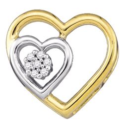 0.03 CTW Diamond Heart Love Pendant 10KT Yellow Gold - REF-7N4F
