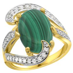 Natural 7.74 ctw malachite & Diamond Engagement Ring 14K Yellow Gold - REF-129K2R