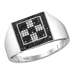 0.26 CTW Mens Black Color Diamond Checkered Square Cluster Ring 10KT White Gold - REF-34Y4X