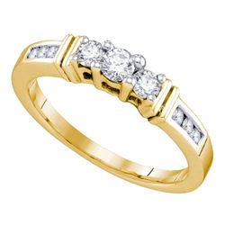 0.33 CTW Diamond 3-stone Bridal Engagement Ring 14KT Yellow Gold - REF-44F9N