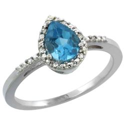 Natural 1.53 ctw swiss-blue-topaz & Diamond Engagement Ring 14K White Gold - REF-25V5F