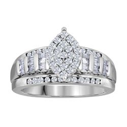0.53 CTW Diamond Oval Cluster Bridal Engagement Ring 10KT White Gold - REF-41F9N