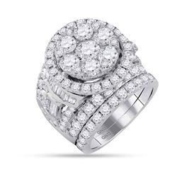 6 CTW Diamond Bridal Wedding Engagement Ring 14KT White Gold - REF-719M9H