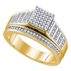 0.25 CTW Diamond Rectangle Cluster Bridal Engagement Ring 10KT Yellow Gold - REF-30K2W