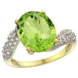 Natural 5.08 ctw peridot & Diamond Engagement Ring 14K Yellow Gold - REF-60F3N