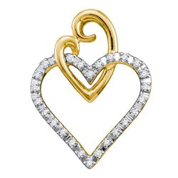 0.08 CTW Diamond Double Joined Heart Pendant 10KT Yellow Gold - REF-9N7F