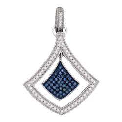 0.26 CTW Blue Color Diamond Spade Cluster Pendant 10KT White Gold - REF-26N9F