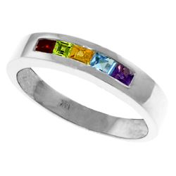 Genuine 0.60 ctw Multi-gemstones Ring Jewelry 14KT White Gold - REF-46T2A