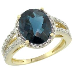 Natural 3.47 ctw London-blue-topaz & Diamond Engagement Ring 14K Yellow Gold - REF-47K2R
