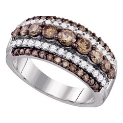 1.55 CTW Cognac-brown Color Diamond Fancy Cocktail Ring 10KT White Gold - REF-89Y9X