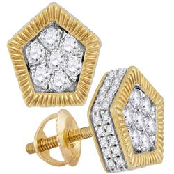 0.75 CTW Diamond Polygon Rope Flower Cluster Earrings 10KT Yellow Gold - REF-52X4Y