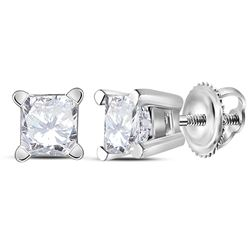 0.48 CTW Princess Diamond Solitaire Stud Earrings 14KT White Gold - REF-59W9K