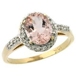 Natural 1.24 ctw Morganite & Diamond Engagement Ring 14K Yellow Gold - REF-37A8V