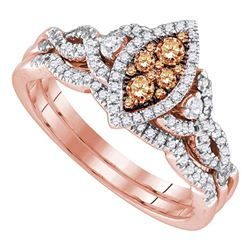 0.50 CTW Brown Diamond Cluster Bridal Engagement Ring 14KT Rose Gold - REF-82F4N