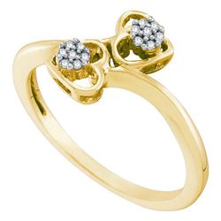 0.05 CTW Diamond Double Heart Bypass Ring 10KT Yellow Gold - REF-14W9K