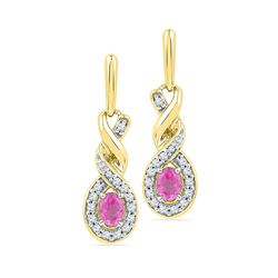 0.60 CTW Oval Created Pink Sapphire Dangle Earrings 10KT Yellow Gold - REF-22Y4X