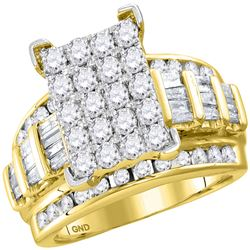 3.02 CTW Diamond Cluster Bridal Engagement Ring 10KT Yellow Gold - REF-240F2N